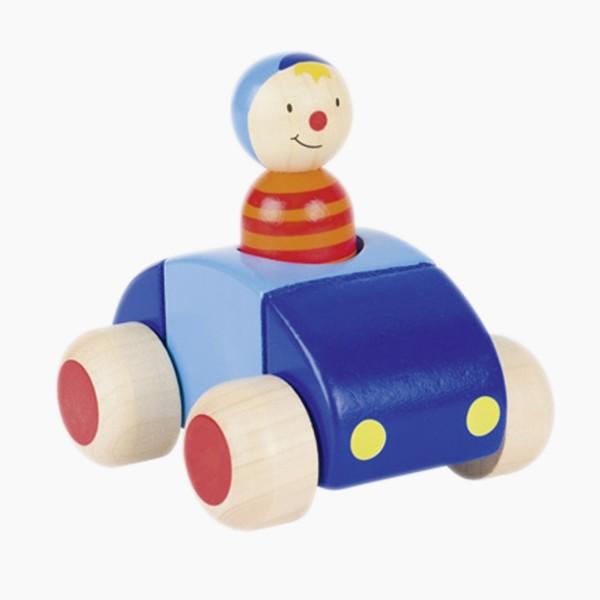 Auto mit Männchen und Hupe Blau